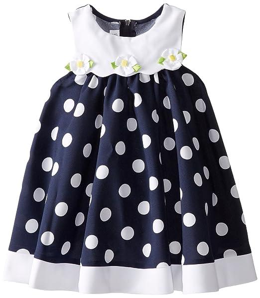 Bonnie-Jean-Little-Girls-Navy-Dot-Nautical-A-Line-Dress