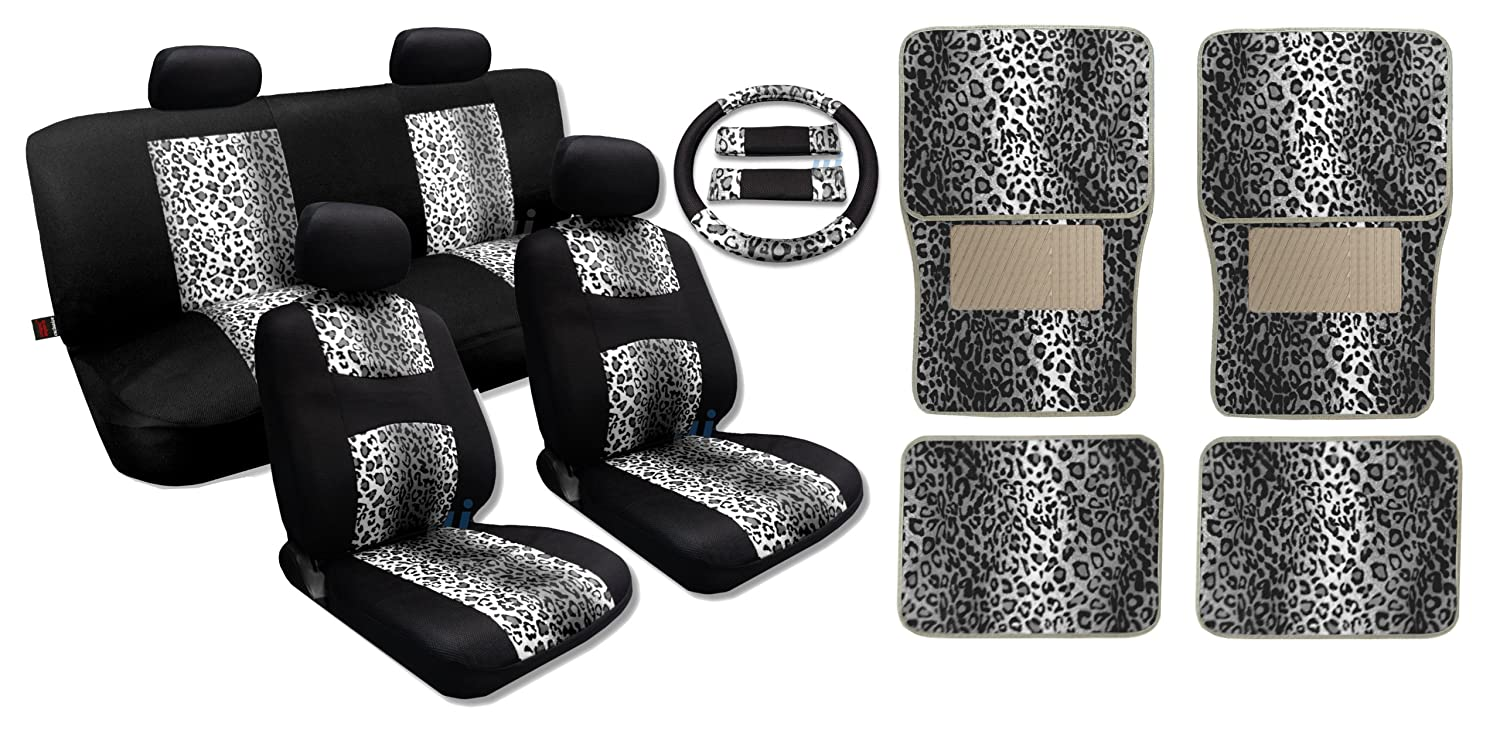 Snow Gray Leopard Cool Fur Print on Black Mesh - Comfy Knit Cloth - Front Pair Bench Steering Wheel Set PLUS 4pc Leopard Floor Mats Fits Toyota Camry bonatech universal infrared receiver with metal shell silver 10 pcs