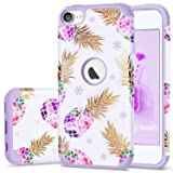 iPod Touch 5 Case,iPod 6 Pineapple Case,Fingic Floral Ultra Slim Case Hard PC Soft Silicone Protective Case Cover for Apple iPod Touch 5/6th Generation,Pineapple/Purple (Color: T049-04 Purple)