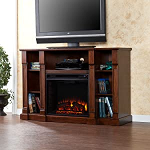 Wood Media Electric Fireplace TV Console Stand with Shelves width=