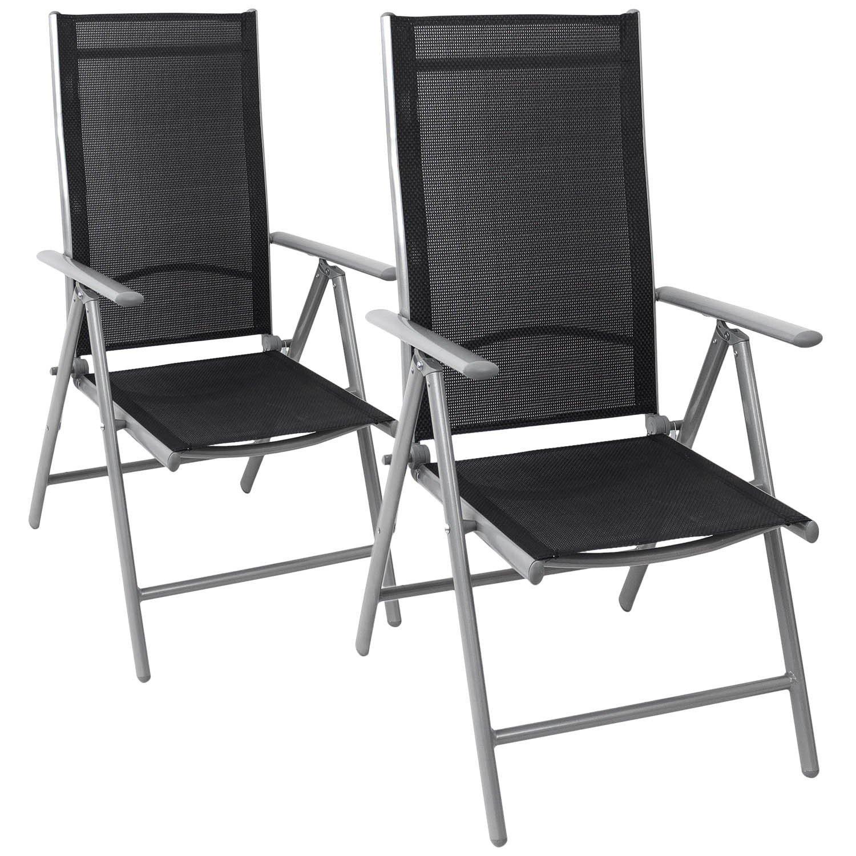 2x Aluminium Hochlehner, hochwertige 4x4 Textilenbespannung, 8-fach verstellbar, klappbar, Silber/Schwarz - Gartenstuhl Liegestuhl Positionsstuhl Klappstuhl Terrassenmöbel Balkonmöbel Gartenmöbel