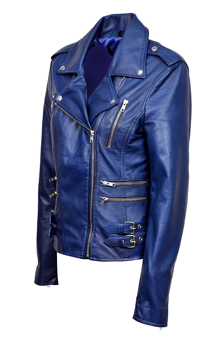Smart Range Women's Mystique Vintage Retro Motorcycle Designer Leather Jacket 6