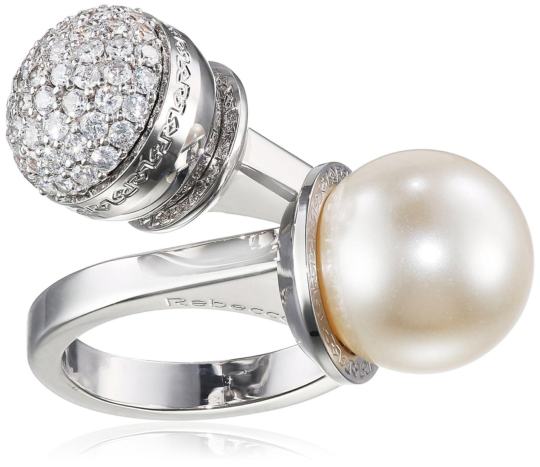 Rebecca Damen-Ring Hollywood Vergoldet rhodiniert Zirkonia weiß Synthetische Perle Weiß Ringgröße verstellbar – BHOABB03 kaufen
