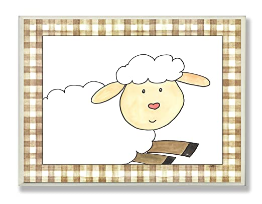 Amazon.com : The Kids Room by Stupell Here's Looking at You Sheep with Brown Plaid Border Rectangle Wall Plaque : Nursery Wall Decor : Baby