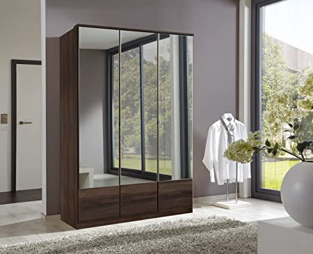 wimex Imago 3-Door Mirrored Wardrobe, 135 cm, Walnut