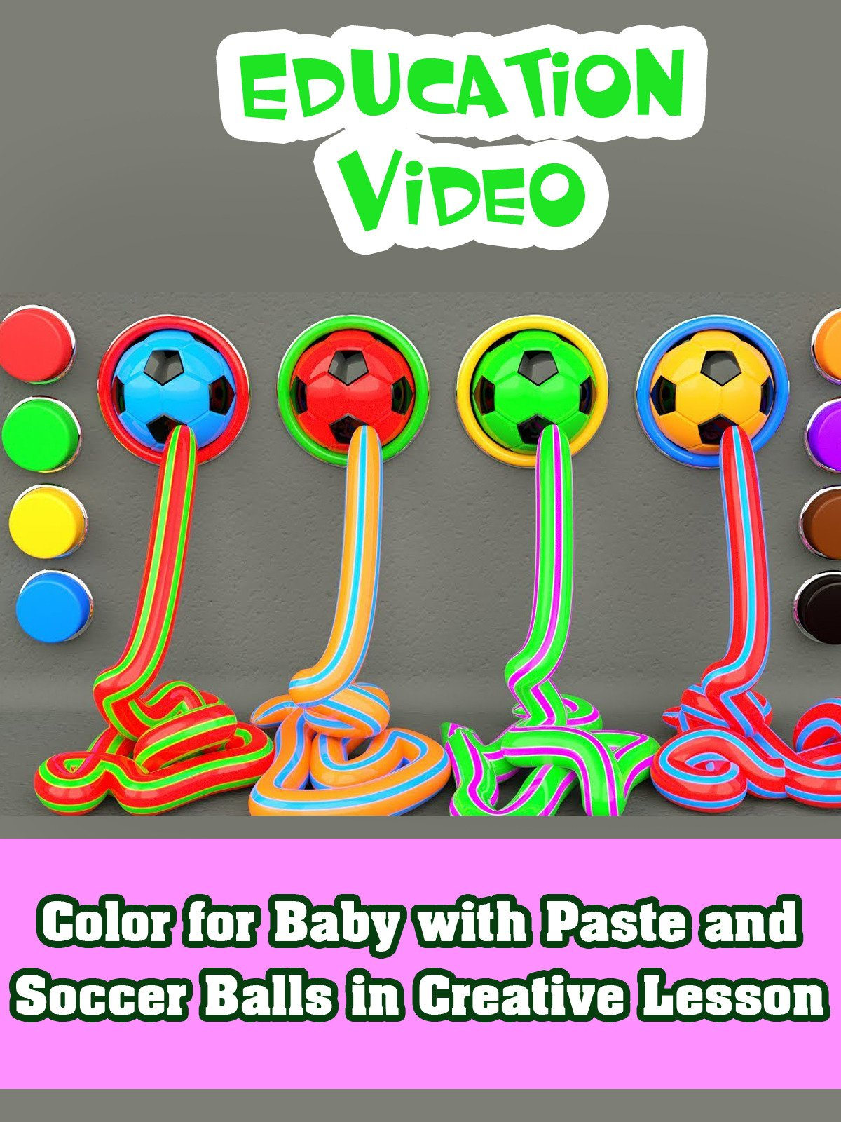 Color for Baby with Paste and Soccer Balls in Creative Lesson