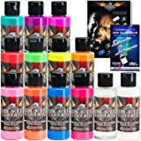11 CREATEX Wicked Colors 2oz Flourescent Airbrush Paint Set