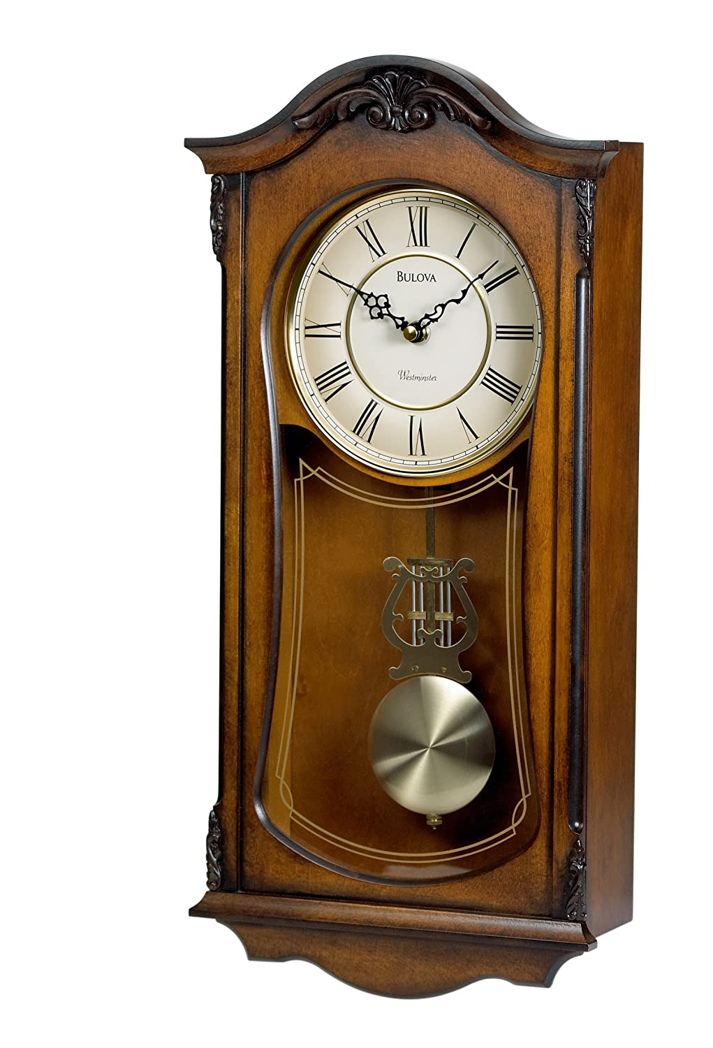 Bulova cranbrook wall chime clock roman wood oak glass old for Bulova pendulum wall clock