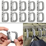 10 Pack Multipurpose D-Ring Grimloc Locking for Molle Webbing with Zippered Pouch by BOOSTEADY (Grey) (Color: Grey)