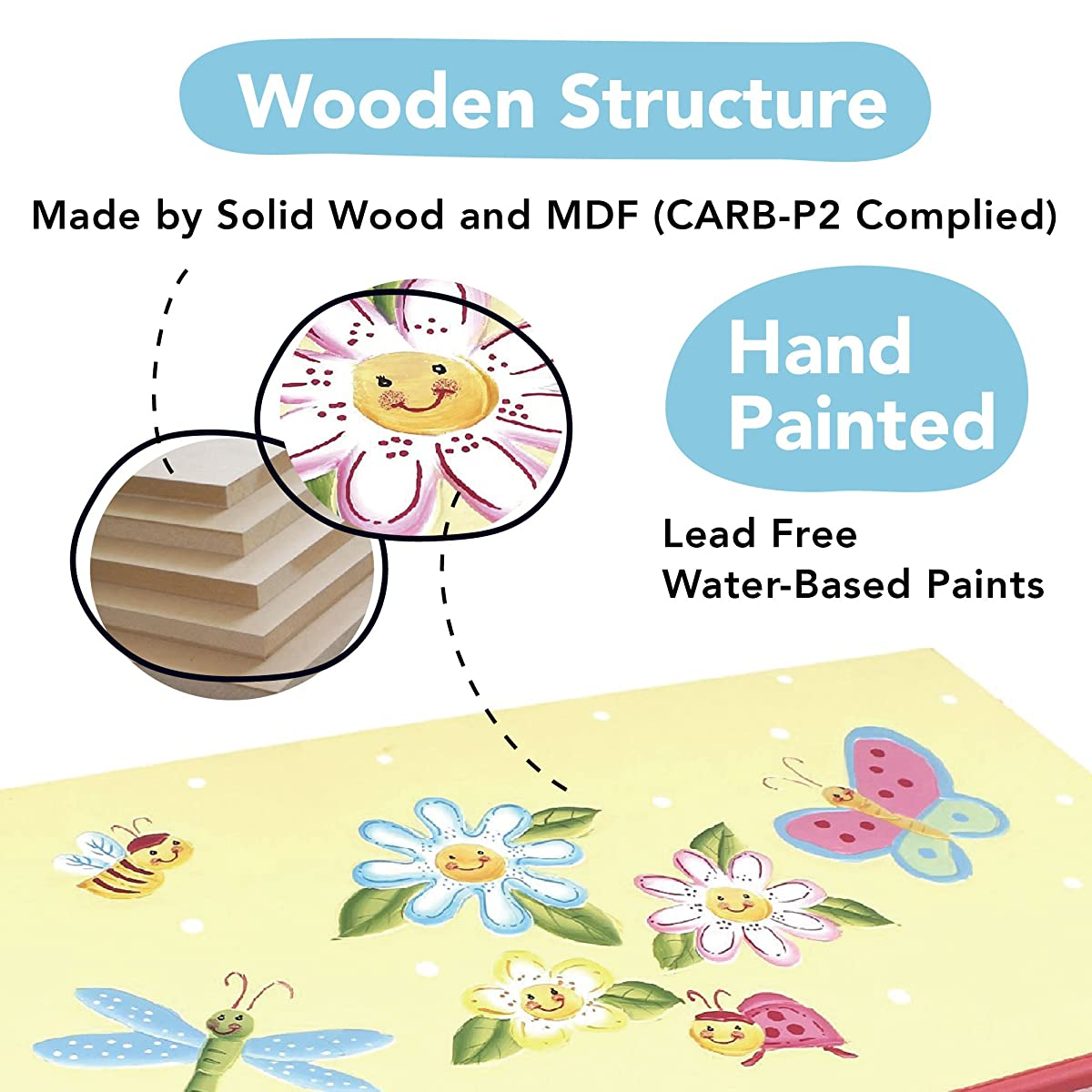 Fantasy Fields - Magic Garden Thematic Kids Wooden Toy Chest with Safety Hinges | Imagination Inspiring Hand Crafted & Hand Painted Details Non-Toxic, Lead Free Water-based Paint