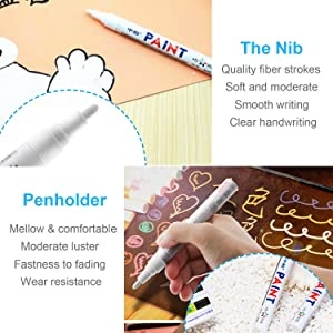 CHUIR 3 Pack Tire Paint Pen Marker Lettering Permanent Waterproof Ink for Car Vehicle Motorcycle Tyre (White) (Color: white)
