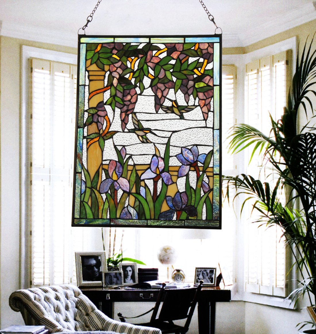 Makenier Vintage Tiffany Style Stained Art Glass Wisteria and Hummingbirds Window Panel Wall Hanging 2