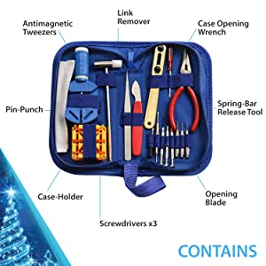 Watch Repair Kit Professional - Complete Tool Set with Watchmaker's and Jewelers Maintenance & Service User Manual - Storage Case - Microfibre Cleaning Towel (16 Pieces)