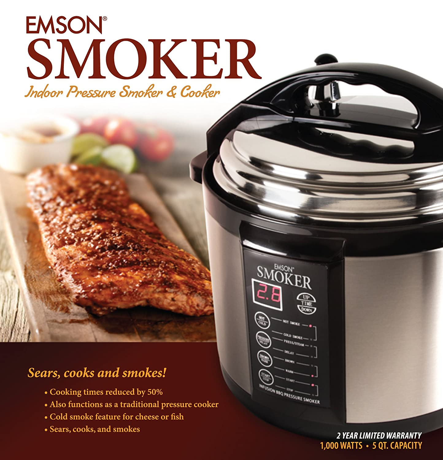 Emson smoker indoor pressure smoker cooker 1 000 watts 5 for Electric pressure cooker fish recipes