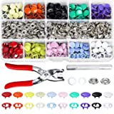K Kwokker 200 Set Grommets Snap Fasteners Kit Leather Rivets Buttons Press Studs 9.5mm 10 Colors Metal Prong Ring Button for Leather, Coat, Down Jacket, Jeans Wear Diapers DIY Thin Clothing