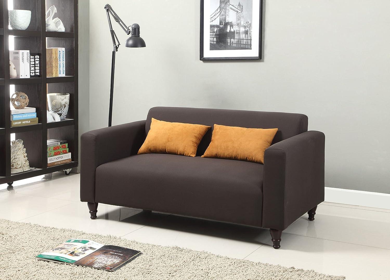 1PerfectChoice Clovis Dark Gray Linen Fabric Loveseat with 2 Pillows