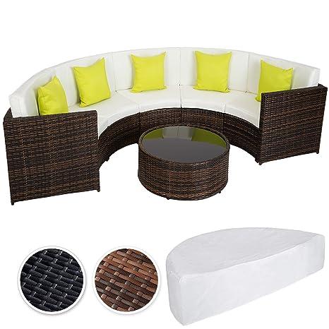 TecTake Hochwertige Aluminium Poly Rattan Lounge Sitzgruppe Sofa halbrund mit Tisch inkl. Schutzhulle und Kissen - diverse Modelle - (Mixed Braun | Nr. 402035)