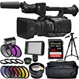 Panasonic AG-UX180 4K Premium Professional Camcorder with SanDisk Extreme Pro 128GB SDXC UHS-I Card and 160 LED Camera/Video Light + More