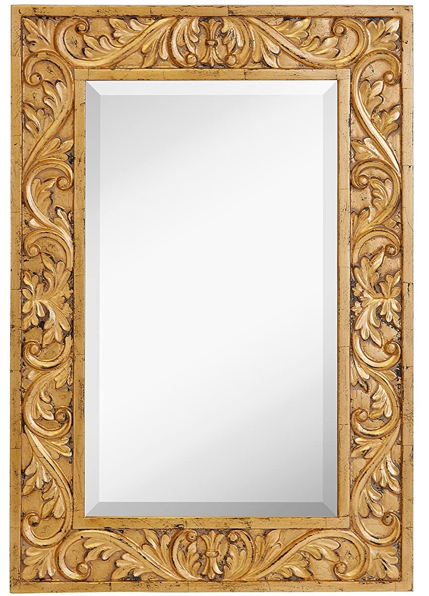 Large Gold Antique Inlay Baroque Styled Framed Mirror | Aged Elegant ...