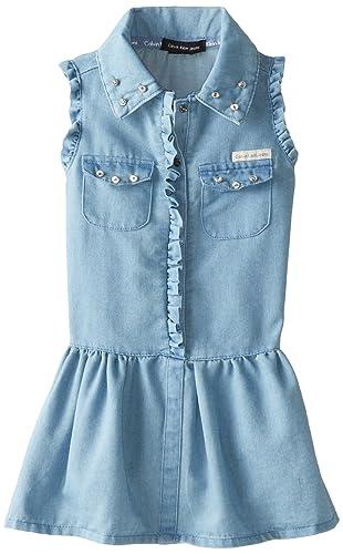 Calvin Klein Little Girls' Blue Denim Dress with Pockets