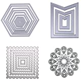 Dies Cut Cutting Die Nesting for Cards Making Scrapbooking Metal Stencils Wreath Sunflower Wavy Stitched Square Hexagon Sunflower Embossing for DIY Photo Album Decorative Embossing DIY Paper(Set 8) (Color: Set 8)