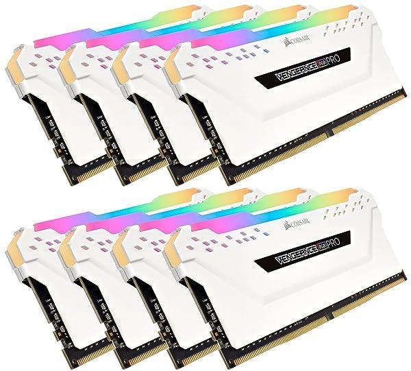 Corsair CMW128GX4M8C3200C16W Vengeance RGB PRO 128GB (8x16GB) DDR4 3200 (PC4-25600) C16 Desktop Memory White