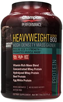 Champion Nutrition Heavyweight Gainer 900 Calorie High-Density Mass Gainer, Chocolate Brownie 7 Pounds
