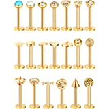 Blulu 20 Pieces 16G Stainless Steel Nose Studs Nose Lips Tragus Labret Cartilage Piercing Jewelry for Women Girls, 20 Styles (Gold) (Color: Gold 2)