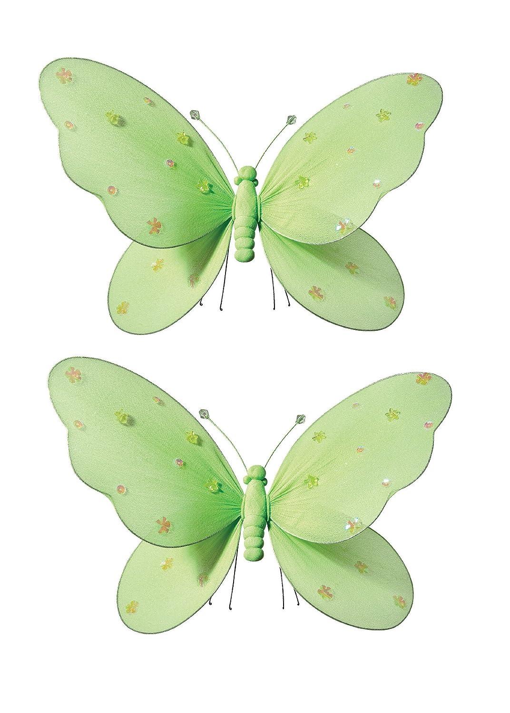 2-teilig Schmetterling für Mädchen-Kinderzimmer Dekoration zum Aufhängen, Schmetterling-Wanddeko für Geburtstag, Babyparty oder Hochzeit, Größe MEDIUM GRÜN günstig online kaufen