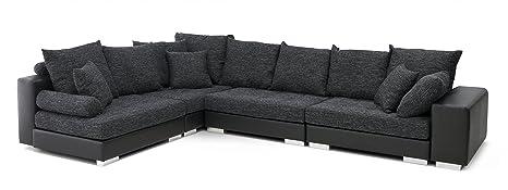 B-famous 150298 Vale XXL Polsterwohnlandschaft in modernem Lounge-Design Ecksofa, Materialmix PU Kunstleder mit Strukturstoff, 240 x 355 x 88 cm, schwarz / weiß