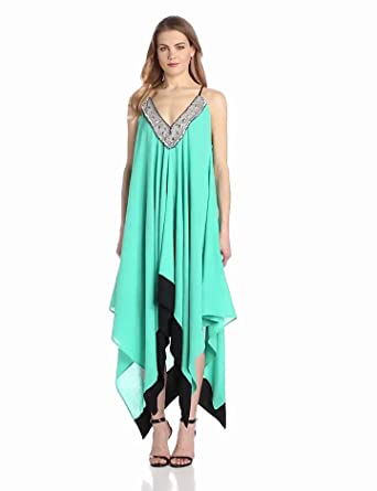 Tbags Los Angeles Women's Gauze Beaded Neck Detail Handerkerchief Hem Dress, Green, One size