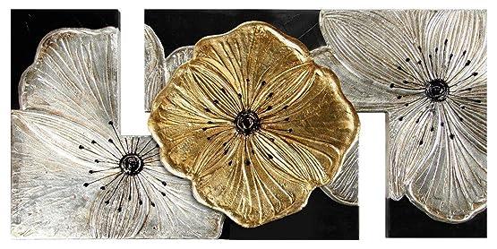 Pintdecor Petunia Quadro, Legno/Tela, Oro, 115 x 55 cm
