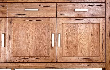 Mein Möbel Wildeiche-SI Balken-/Massivholz Sideboard 125 x 78 x 44 cm im klassischen Design, Wild-Spalteiche massiv, gewachst / geölt