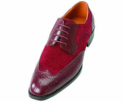 Amazon.com: Bolano Mens Burgundy Classic Faux Suede And Smooth ...