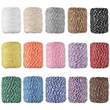 Cotton Bakers Twine, HULISEN 15 Rolls Colourful Twine String for Artworks, DIY Crafts, Gift Wrapping, Picture Display and Embellishments (Color: 15 Colors Bakers Twine)