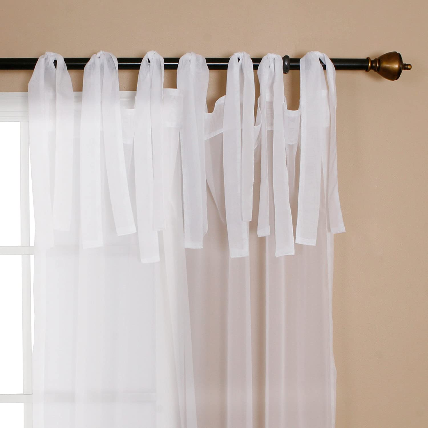 Best home fashion sheer voile tie top curtain pair 84 l sl new free shippin - Pictures of curtains ...