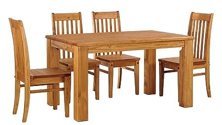 Brasilmöbel Esstisch Rio Classico 140x90 cm + 4 x Stuhl Rio Classico Farbton Honig