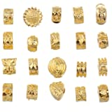 RUBYCA 20pcs Mix Lot of Gold Color Clip Lock Stopper Clasp Beads DIY fit European Charm Bracelet (Color: Mix Models, Tamaño: 20 PCS)