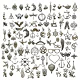 100 PCS Mixed Charms Collection - Antique Silver Mixed Pendant DIY for Necklace Bracelet Earring Chain Jewelry Findings (HM97) (Color: style 1)