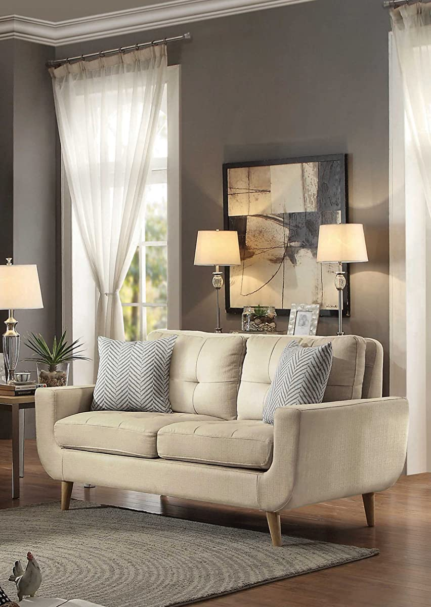 Homelegance Deryn Mid-Century Modern Loveseat with Tufted Back and Two Herringbone Throw Pillows, Beige