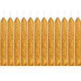 Bememo 12 Pieces Sealing Wax Sticks with Wicks Antique Fire Manuscript Sealing Wax for Wax Seal Stamp (Gold Color) (Color: Gold Color)