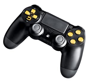 PS4 Modded Controller Gold Chrome - Playstation 4 - Master Mod Includes Rapid Fire, Drop Shot, Quick Scope, Sniper Breath, and More - Works for all Call of Duty Games (Color: Gold Chrome Mirror on Black)