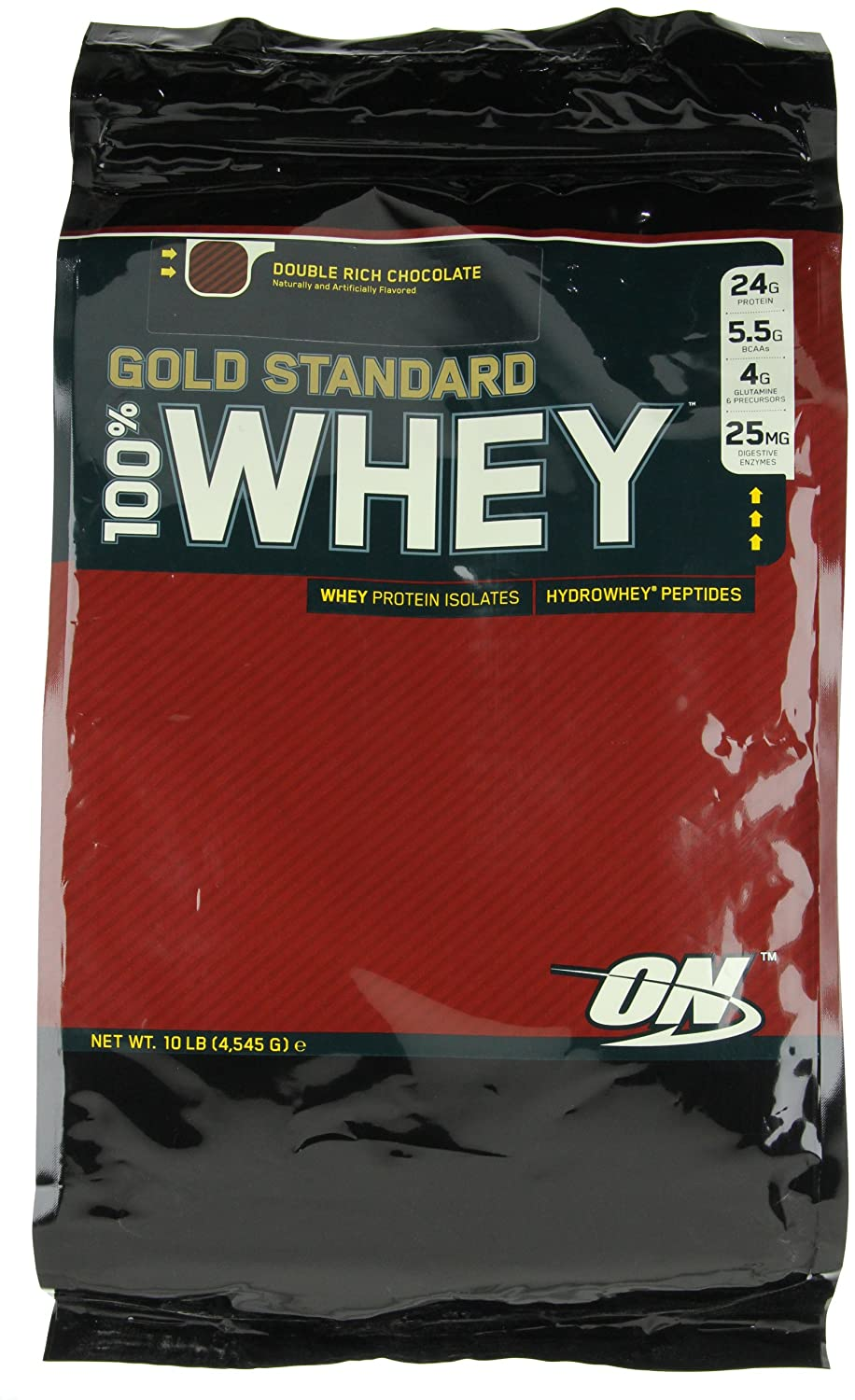 Optimum Nutrition 100% Whey Gold Standard, Double Rich Chocolate, 10 Pounds Bags