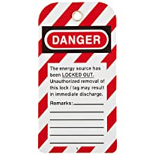 "North Safety ""Danger Equipment Lockout - Locked Out Do Not Operate"" Styrene Tag with Reverse Side Dismissal Warning, 5-3/4"" Length, 3"" Width"