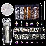 120 Pcs Glass Crystal AB Rhinestones For Nail Art Craft(120+1656pcs),Micro Nail Pixie Beads 1 Bottle,Mixed Colors Metal Bead 1 Pack Nails 3D Decorations Nail Art Kit (Tamaño: 120 pcs Crystals+1656 pcs rhinestones)