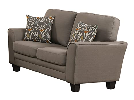 Homelegance 8413GY-2 Fully Upholstered with Piping Trim Linen Like Fabric Grey Love Seat