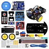 LAFVIN Smart Robot Car 2WD Chassis Kit with Ultrasonic Module for Uno R3,Remote for Arduino DIY Kit