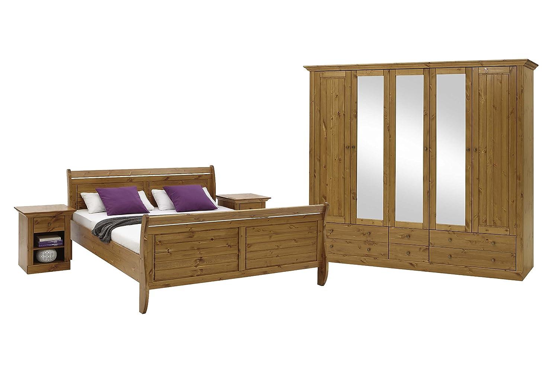 Steens Furniture 7317000064001F Schlafzimmer Monaco mit Bett 180 x 200 cm, kiefer massiv, provence