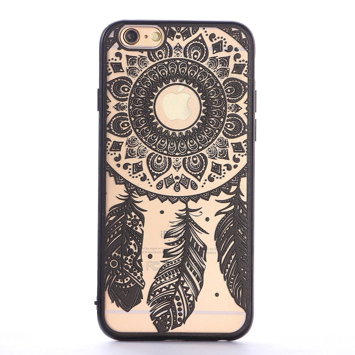 iPhone 6/6S Plus 5.5inch Case,Aroko Baroque Retro Court Lace Pattern Texture Hard Plastic Clear Case for Apple iPhone 6 Plus 5.5inch Damask Black