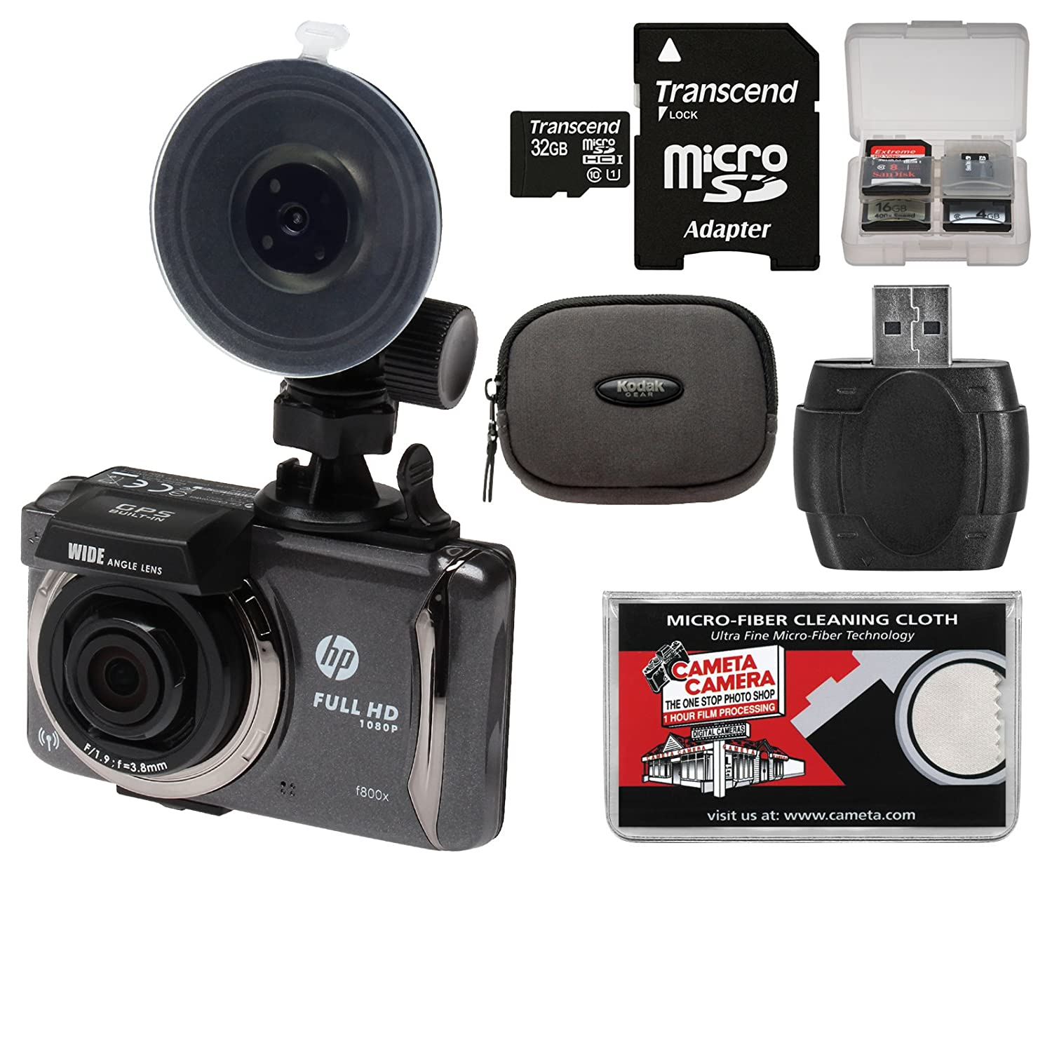 HP f800x Full HD Wi-Fi GPS Car Dashboard Video Recorder Camera with 32GB Card + Case + Kit